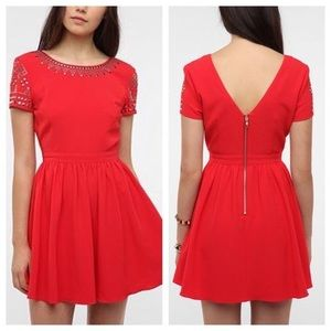 Staring At Stars Studded Crepe Red Dress